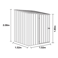 Absco Sheds 1.52 x 1.52 x 2.08m Space Saver Single Door Shed - Monument