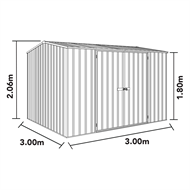 Absco Sheds 3 x 3 x 2.06m Premier Double Door Shed - Monument