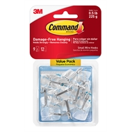Command™ Small Clear Wire Hooks And Clear Strips