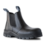 Bata Black Leather Cobra Safety Boot  - Size 7