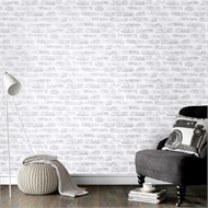 Graham & Brown 52cm x 10m Brick White Wallpaper