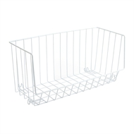 LTW Wire Stacking Basket Half Wide White