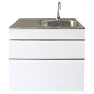 Dissco Elite Twin Drawer  900x560mm Right Hand Tub White
