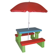 Sommersault Kids Plastic Bench Set with Umbrella