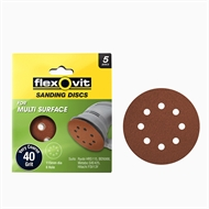 Flexovit 115mm 40 Grit 8 Hole All Surface Orbital Sanding Disc - 5pk