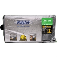 Polytuf Tarpaulin 1.8x2.4m Ultra Heavy Duty Silver/Black D Ring