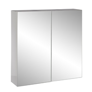 Stein 600 x 600mm White Stylo Bathroom Cabinet With Mirror Doors