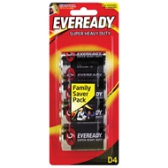 Eveready D Super Heavy Duty Battery - 4 Pack