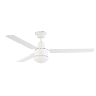 Arlec 120cm White 3-Blade Ceiling Fan with Oyster Light