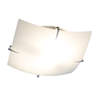 Verve 30cm White and Chrome Square Maddison Oyster Light