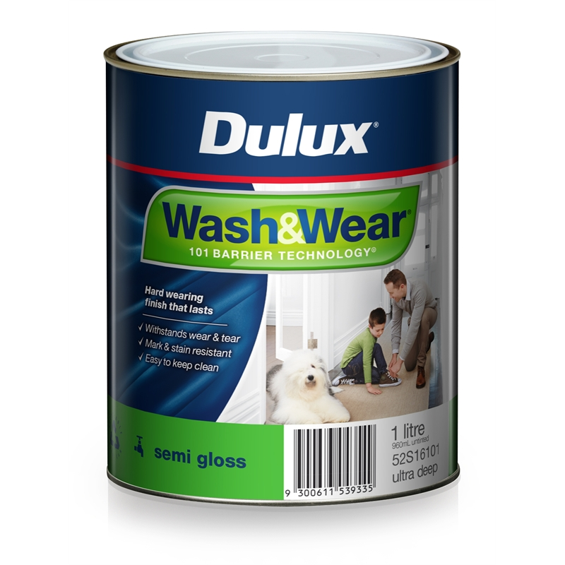 dulux 1l ultra deep semi gloss wash wear interior paint bunnings warehouse. Black Bedroom Furniture Sets. Home Design Ideas