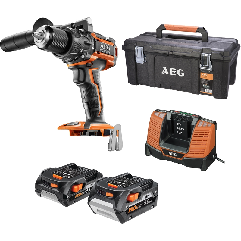 aeg 18v 5 0ah 2 5ah brushless hammer drill kit bunnings warehouse. Black Bedroom Furniture Sets. Home Design Ideas