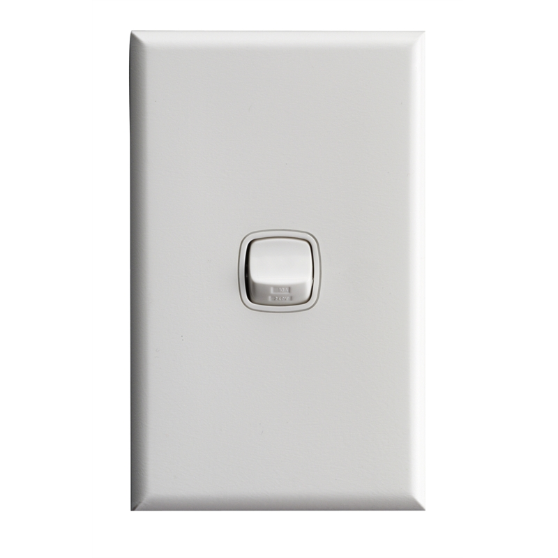 HPM Excel 1 Gang Light Switch White