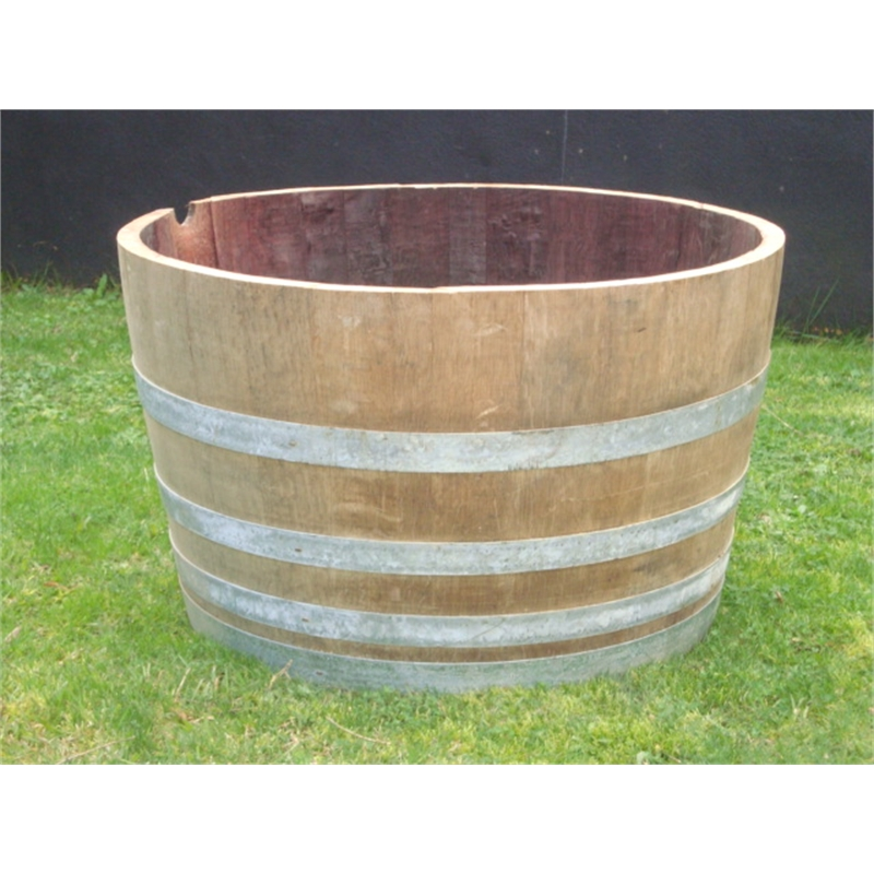 Tuscan Path 55cm Half Barrel Wooden Planter