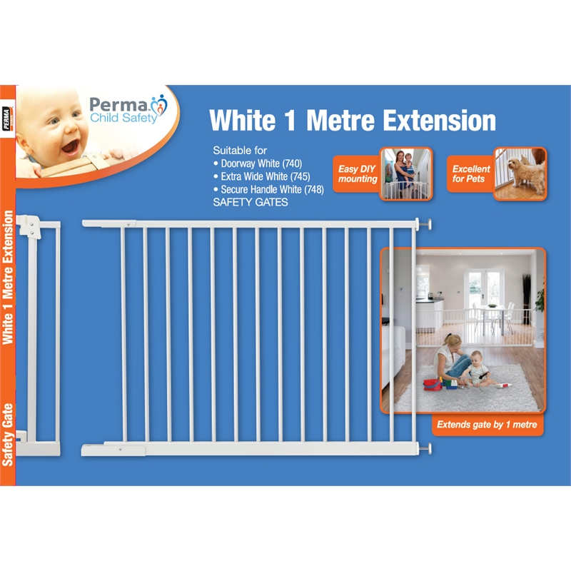 Perma Child Safety Gate Extension 1m White Bunnings Warehouse