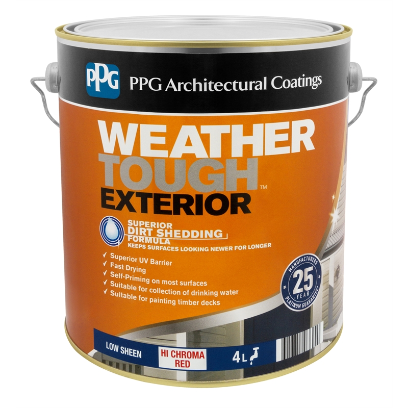 Ppg Weathertough 4l Low Sheen Hi Chroma Red Exterior Paint