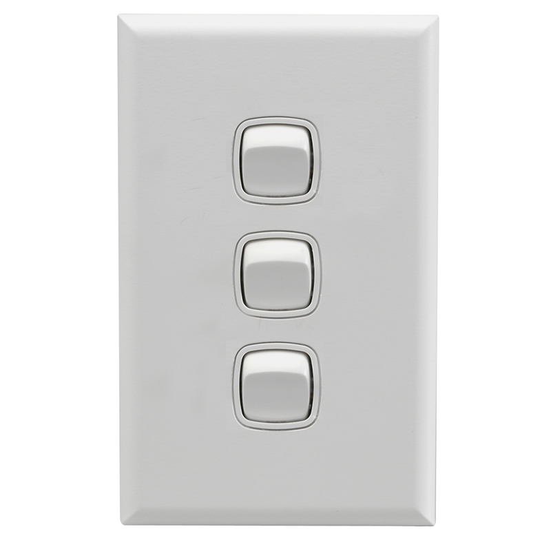HPM Excel 3 Gang Light Switch White