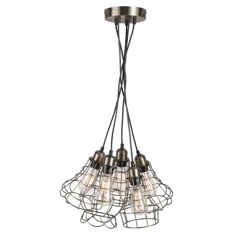 Brilliant Lighting Antique Brass Maison Cluster Pendant Light