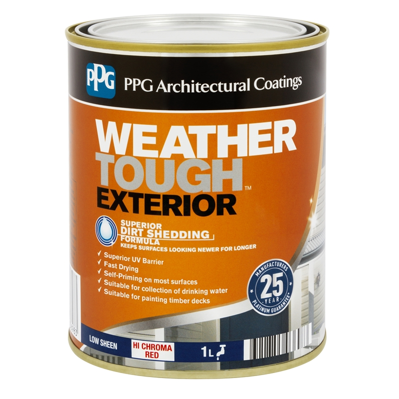 Ppg Weather Tough 1l Hi Chroma Red Low Sheen Exterior Paint