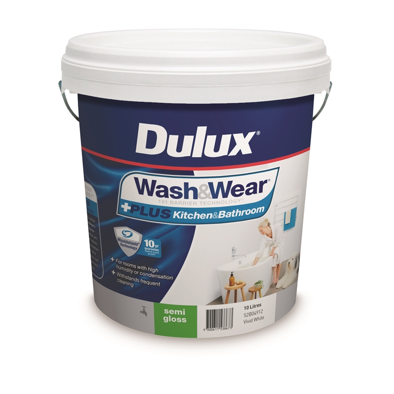 Remarkable Dulux 10L Vivid White Semi Gloss Plus Kitchen Bathroom Washwear Interior Paint Complete Home Design Collection Papxelindsey Bellcom