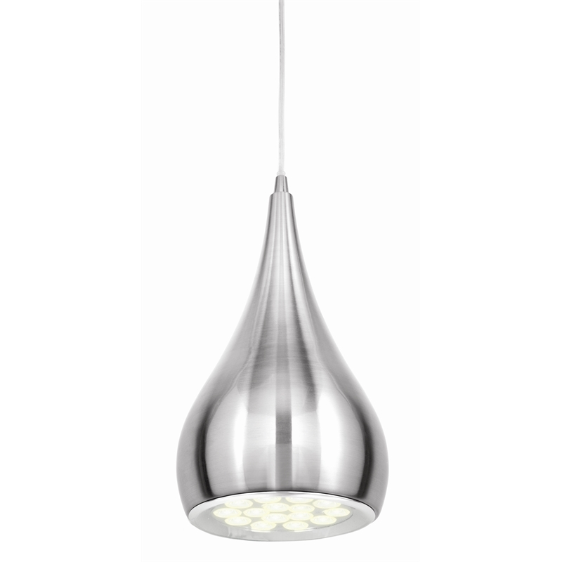 Brilliant Lighting 15W Brushed Chrome Clyde LED Pendant Light