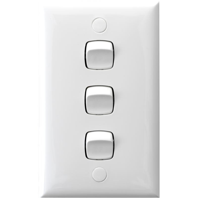 Hpm 3 Gang Light Switch White Bunnings Warehouse