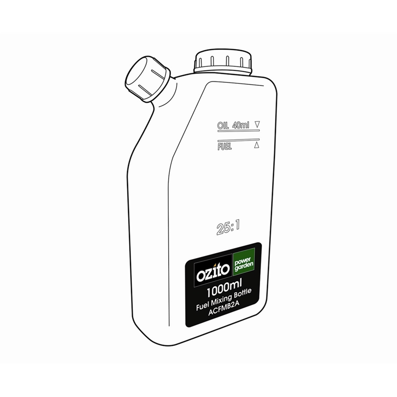 ozito 2 stroke fuel mixing bottle 1l sku 00408229