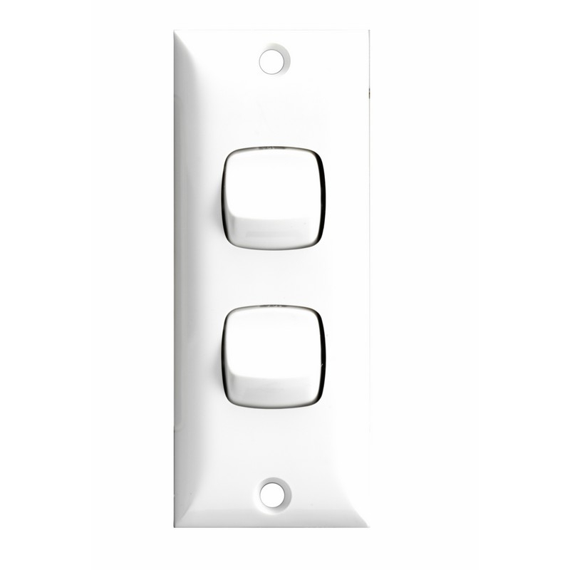 HPM 2 Gang Architrave Light Switch - White | Bunnings Warehouse