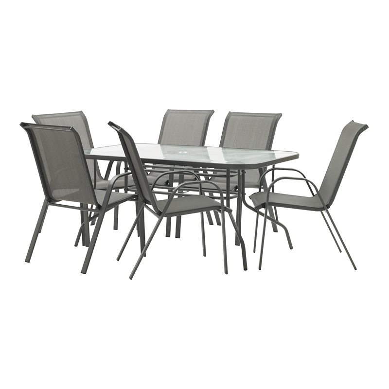 Marquee Grey Steel Sling Back 7 Piece Setting Bunnings Warehouse
